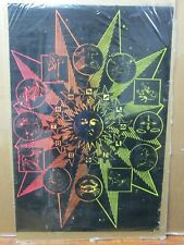 Vintage Black Light Poster Zodiac 1970's signs flocked Inv#G4622