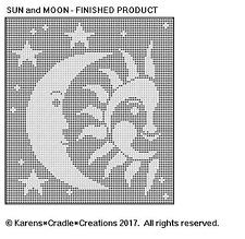 CELESTIAL - SUN and MOON Filet Crochet Pattern