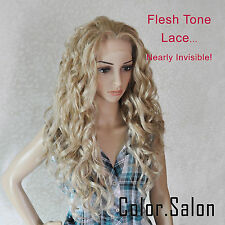 Hand-Tied Flesh Lace Front Synthetic Wigs Glueless Mixed Blonde 99#613M27 (F)