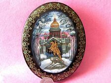 Russian Hand Painted Kholui Lacquer box St. Isaac's cathedral Petersburg Peter I
