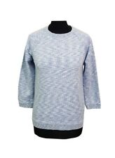 WHISTLES Jumper Size S Blue White Cotton w/Silk Designer Casual Party Evening *