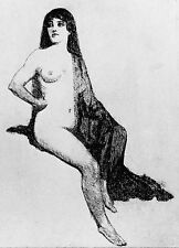 "NORMAN LINDSAY FACSIMILIE ETCHING "" NUDE WITH MANTILLA """