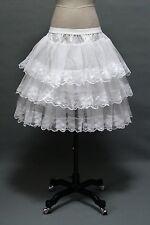 New White Women Skirts Tulle 3 Layers Lace Edge Crinoline Petticoat Underskirt