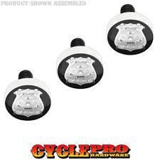 Silver Billet Fairing Windshield Bolt Kit 96-13 Harley POLICE BADGE - 020