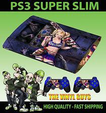 PLAYSTATION PS3 Super Slim LOLLIPOP MOTOSEGA PELLE SCURA AUTOADESIVO E 2 SKIN PER PAD