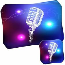 Line Art Stage Microphone Set of 4 Placemats and Coasters