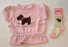 NWOT Gymboree Girl Detective 12-18 Months Pink Scottie Dog Sweater & NWT Socks