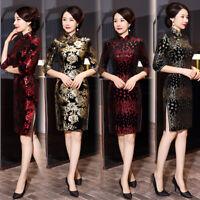 Chinese Traditional Cheongsam Women Velvet Mini Dress Prom Qipao Size S-5XL