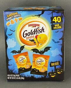 Pepperidge Farm Goldfish Cheddar Crackers Halloween 40 Boo Packs 0.5 Oz Bags