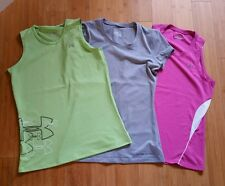Lot of 3 Under Armour Heatgear Athletic Tennis Tops Shirts Women's S/Girl's XL