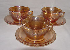 """THREE PERFECT Vintage Iridescent """"NORMANDIE"""" Cup & Saucer Sets!!"""