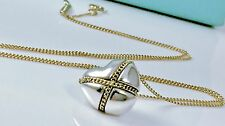 "Tiffany & Co 18k 750 Y Gold Silver Necklace Heart X Kiss Charm 18"" L  6.0 gr."
