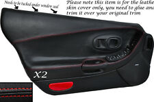 RED STITCH 2X FULL DOOR CARD LEATHER SKIN COVERS  FITS CORVETTE C5 1997-2004