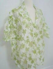 Susan Graver Button Down Shirt Womens Plus 3X Green Floral Tied Short Sleeves