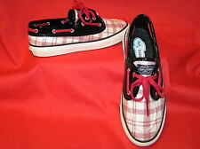 SPERRY BAHAMA A/O GINGHAM BOAT SHOES RED WHITE BLACK SEQUINS PATENT LEATHER 9.5