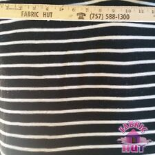 Sweater Knit Polyester Poly Spandex Black & White Stripe Fabric by the Yard