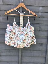 FOREVER 21 Floral Cream Lace Camisole Summer Crop Top. Size Large UK 12-14. BNWT