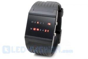 Binär-Armbanduhr mit LEDs binäruhr led-uhr geeks nerds rote leds herren mann