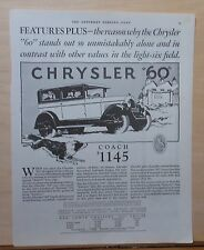 """1926 magazine ad for Chrysler - Collie races """"60"""" Coach, Excels in features"""
