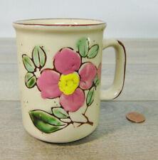 VTG Pottery Brown Speckled COFFEE MUG Tea Cup Pink Dogwood Flower Tree Branch