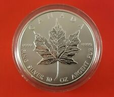 1998 Canada 50 Dollar 10 Ounce Silver Maple Leaf Coin .9999 Pure In Capsule