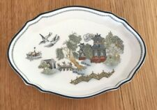 WEDGWOOD Fine Bone China Oval Fluted Pin Dish Tray | Chinese Legend | Excellent