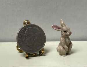 Vintage Artisan Painted Metal Bunny Rabbit Dollhouse Miniature 1:12