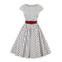 Plus Size Crew Neck Polka Dot Check High Waist Belt 1950s Vintage Retro Dress