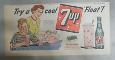 7-Up Ad: Fresh Up With Seven-Up! Try A Cool Float ! from 1950's  7.5 x 15 inches