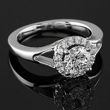 1Carat D VS2 Solitaire Diamond Engagement Ring Round Cut 14K White Gold