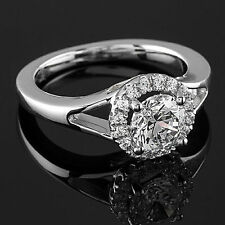 1 Ct D/VS2 Round Cut Diamond Engagement Ring 14K White Gold