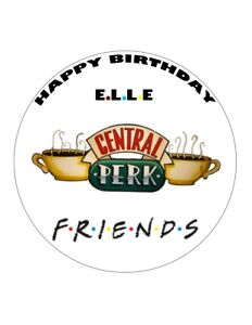 "7.5"" 19cm FRIENDS PERSONALISED CENTRAL PERK WAFER/FONDANT PAPER CAKE TOPPER"