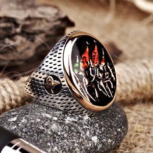 Black Onyx Silver Men Statement Ring Unique Turkish Ottoman Empire Male Jewelry