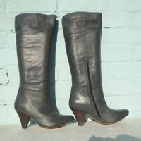 Oasis Leather Boots Size Uk 6 Eur 39 Sexy Womens Ladies Pull on Grey Boots