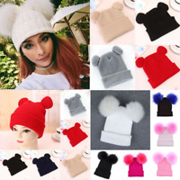 Women Ladies Beanie Hat With Double Pom Cat Ear Knitted Ski Cute Winter Warm Cap