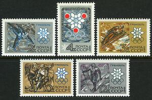 Russia 3366-3370, MNH.Olympics,Grenoble.Figure skating,Ski jump,Ice Hockey,1967