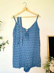 TREE OF LIFE Blue Floral Size Small Boho Casual Romper Playsuit with Belt