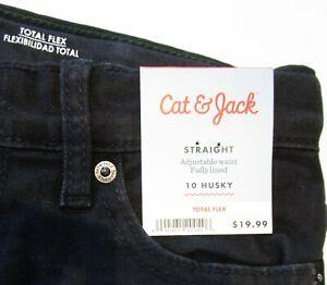 Boys Cat & Jack Flannel Lined Straight Jeans * Black HUSKY Sizes 8, 10, 12, 14
