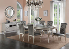 7pc Dining Room Kitchen Set Table 6 Diamond Tufted Parson Chairs 7 piece Dinette