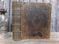 Antique Large Leather Family Bible 1853 Old & New Testament Birth/Death Records