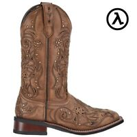 """LAREDO JANIE 11"""" TAN-BROWN WOMEN'S STUDDED LEATHER WESTERN BOOTS 5643 *ALL SIZES"""