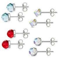 Amberta 925 Sterling Silver Earrings Pair of Studs for Women with 5 mm Gemstones