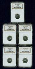 CANADA ELIZABETH II 1955 5 CENTS COINS, CHOICE UNCIRCULATED, NGC CERTIFIED MS-64