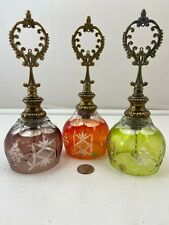 Vintage Orange, Green, and Purple Made in Poland hand cut Lead Crystal Bell 9""