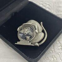 VINTAGE Cat & Fishbowl Brooch Pewter Pin Figural Signed JJ Jonnette Jewelry Cute