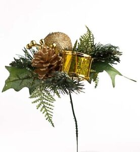 Factory Direct Craft Gold Glitter Apple Drum Pinecone Picks   Set of 12