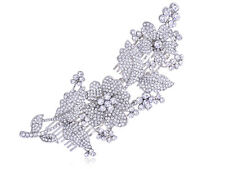 Silvery Tone Crystal Rhinestone Flower Leaf Bridal Long Hair Comb Fashion Gifts