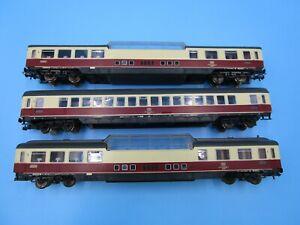 Marklin HO Lot of 3 Vista Dome Passenger Car TEE DB Vintage 1/87 Set