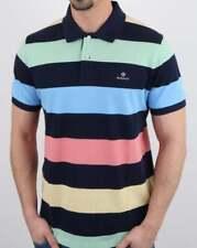 Gant Polo Shirt in Navy & Multi colour stripes, pique cotton Rugger top