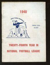 1948 New York Giants NFL Football Press Radio Media Guide VG+